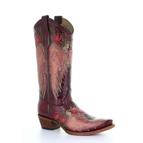 Circle G by Corral Ladies Wine Wing & Floral Embroidery Western Boots L5488