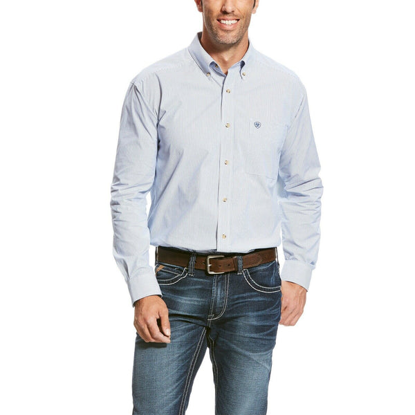 Ariat® Men's Pro Series Dayne Mini Stripe Blue Button Shirt 10023597