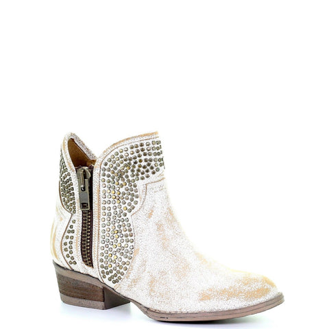 Circle G By Corral Ladies Camel White Studs Shortie Ankle Boots Q0126