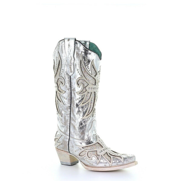 Corral Ladies Silver Laser, Inlay, Embroidery & Studs Boots  E1546