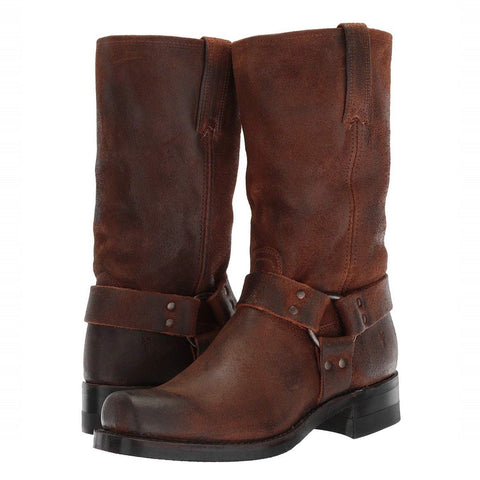 Frye Men's Harness 12R Brown Suede Motorcycle Boot 3486180-BRN 86180