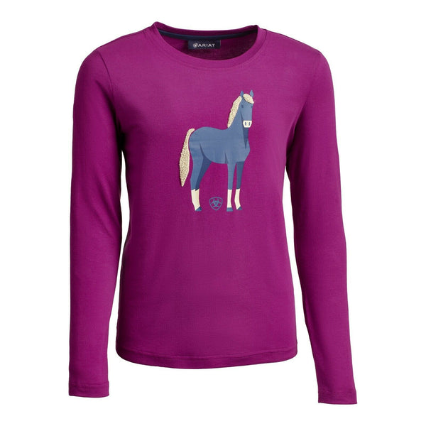 Ariat® Girls Chenille Horse Imperial Violet LS Shirt 10032748