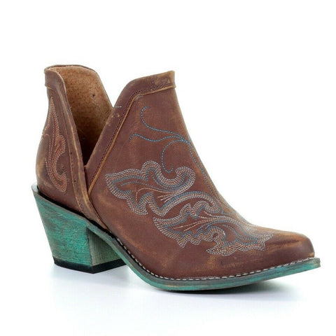 Circle G by Corral Ladies Cognac Brown & Turquoise Embroidery Booties Q0099