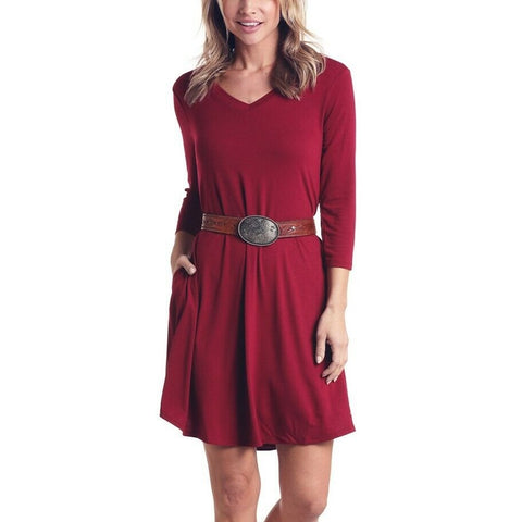Panhandle Ladies Wine 3/4 Sleeve V-Neck Dress L9D6470-63