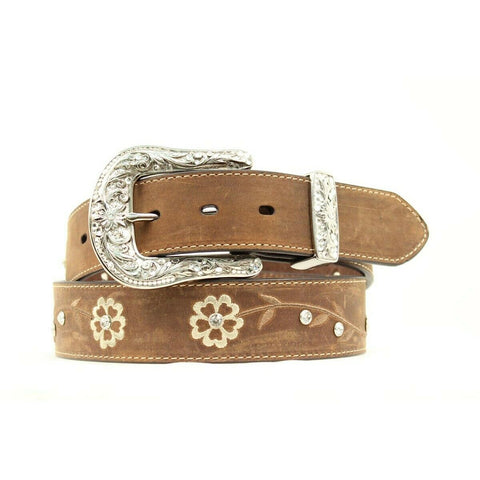 Ariat Ladies Scrolling Flowers & Concho Brown Belt A1510202