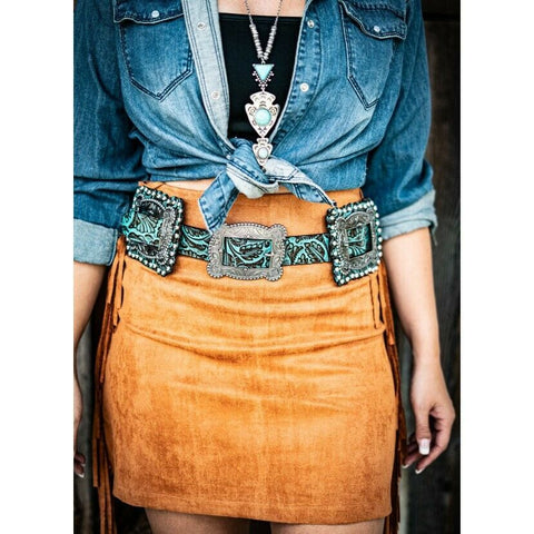 L&B Ladies Brown & Turquoise Tooled Square Concho Belt BE-01-BRW-TQB