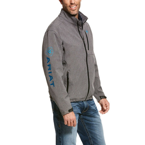 Ariat® Men's Logo 2.0 Charcoal Grey & Blue Softshell Jacket 10028291