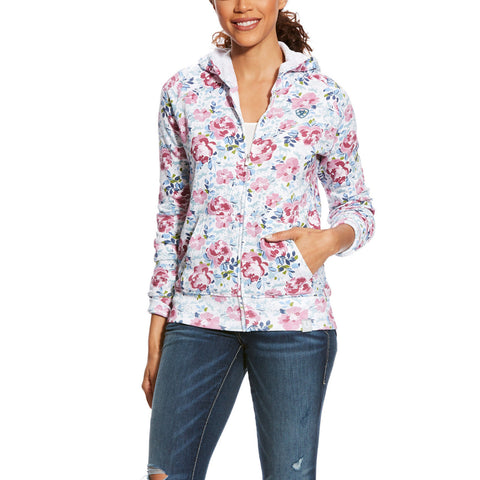 Ariat® Ladies Frolic Horses & Floral Zip Hoodie Sweatshirt 10025591 - Wild West Boot Store
