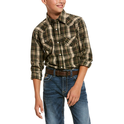 Ariat® Boy's Kameron Relic Green Retro Snap Button Shirt 10028146