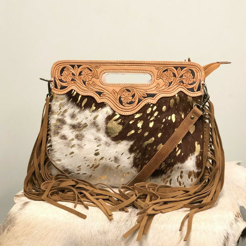 American Darling Gold and Cowhide Fringe Purse ADBGS146ACGO