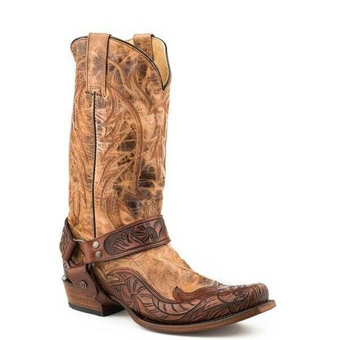 Stetson Men's Tan Crackled Harness Boots 12-020-6104-1650