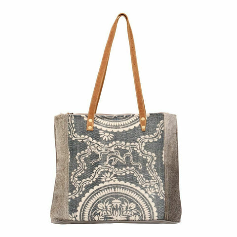 Myra Bag Sapphire Canvas & Hairon Tote Bag S-1470