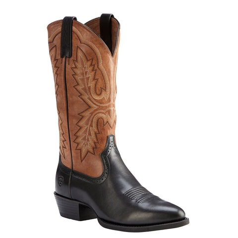Ariat® Men's Heritage Calhoun Limousine Black & Brown Boots 10023169 - Wild West Boot Store