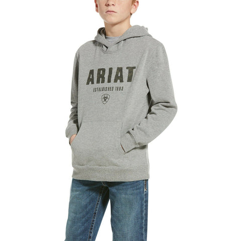 Ariat® Childrens Digi Logo Heather Grey Hoodie 10033564