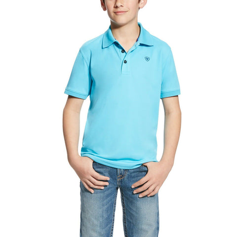 Ariat® Boy's Blue Atoll Sun Block Short Sleeve Tek Polo Shirt 10022256 - Wild West Boot Store