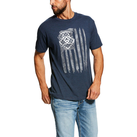 Ariat® Men's Vertical Flag Navy Blue Short Sleeve T-Shirt 10026659