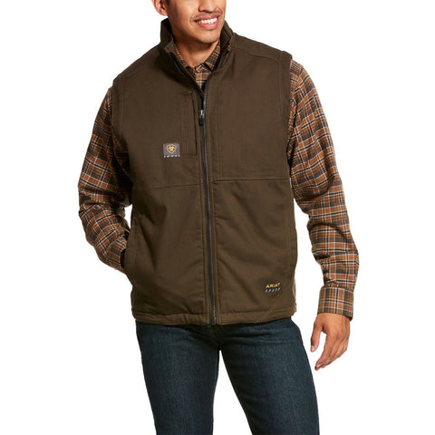 Ariat® Men's Rebar Brown Stretch Canvas Softshell Work Vest 10027871