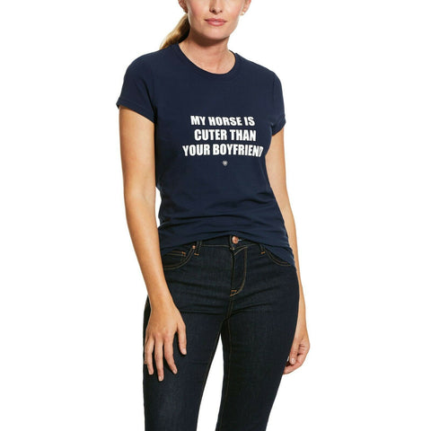 Ariat Ladies Funny Horse Lover Saying Navy T-Shirt 10030348