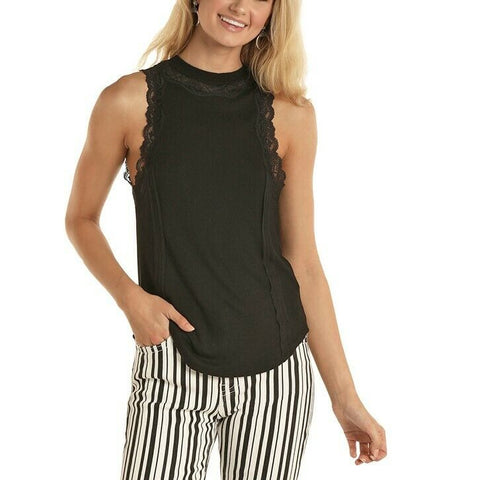 Rock & Roll Cowgirl Ladies Black High Neck Tank Top 49-5183
