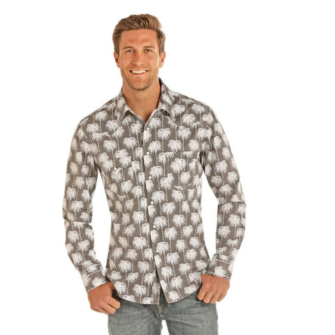 Rock & Roll Cowboy Men's Brown Palm Tree Print Shirts B2S1141
