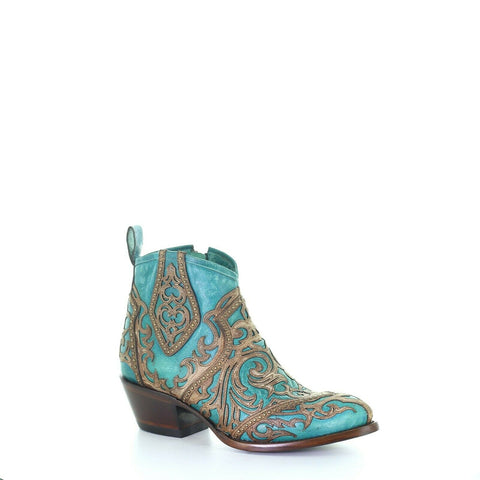Corral Ladies Turquoise & Tan Inlay Booties w/ Embroidery & Studs G1546