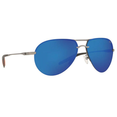 Costa Helo Matte Silver Frame with Blue Lens Sunglasses HLO 228 OBMP