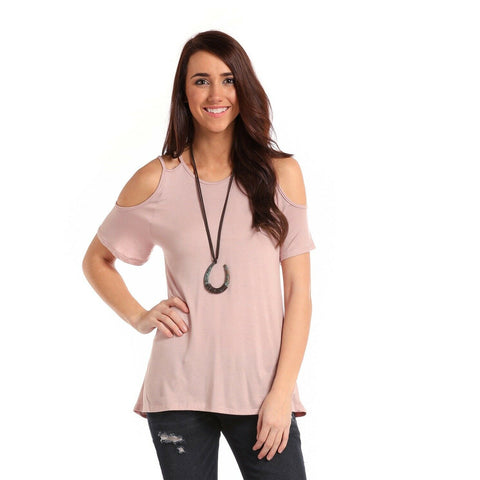 Panhandle Ladies Pink Double Strap Cold Shoulder Shirt J9-7339