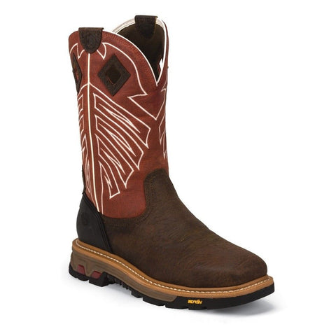 Justin Men's Roughneck Chestnut Waterproof Steel Toe Work Boots WK2115 - Wild West Boot Store