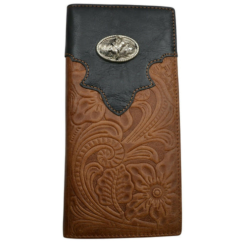 3D Mens Floral Embossed Concho Leather Rodeo Wallet DW1510