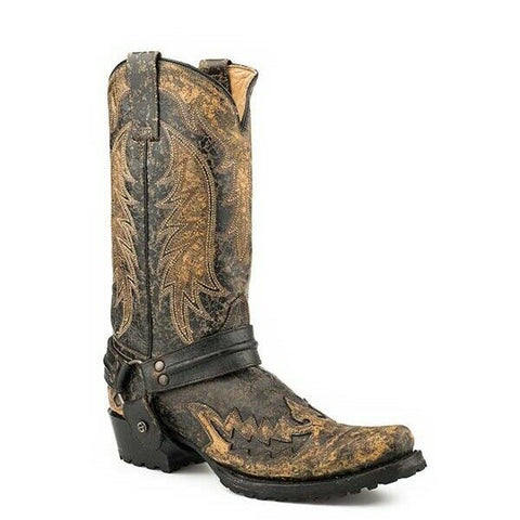 Stetson Men's King Distressed Black Harness Boot 12-020-6124-1651