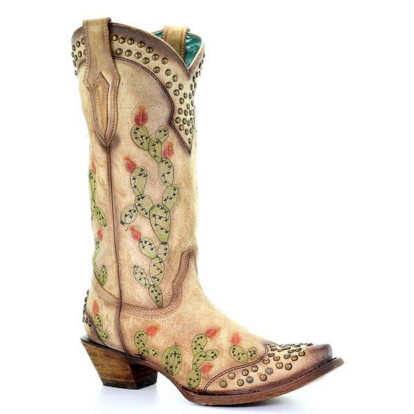 Corral Ladies Saddle Tan Nopal Cactus Embroidery & Studs Boots C3463