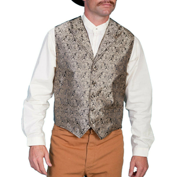 Scully Men's Classic Paisley Taupe Vests RW093-TAU