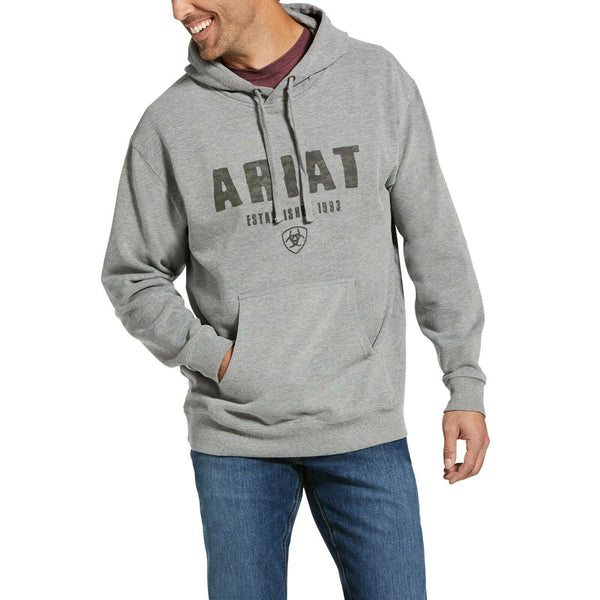 Ariat® Men's Digi Logo Brushed Fleece Athletic Heather Hoodie 10033148
