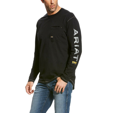 Ariat® Men's Black Rebar Workman Logo Long Sleeve Shirt 10023916