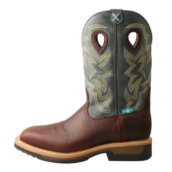 "Twisted X Men's Lite Cowboy Work Pull On WS Toe 12"" Boots MLCAW01"