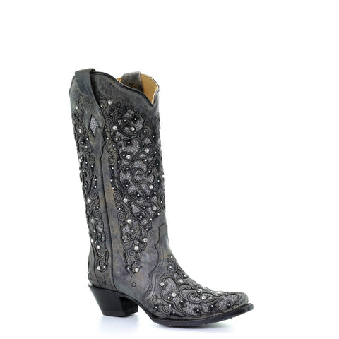 Corral Ladies Grey Glitter Inlay/Crystals Sniped Toe Boot A3672