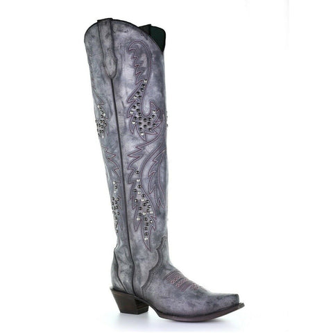 Corral Ladies Gray Overlay Woven Embroidery & Studs Boots C3544