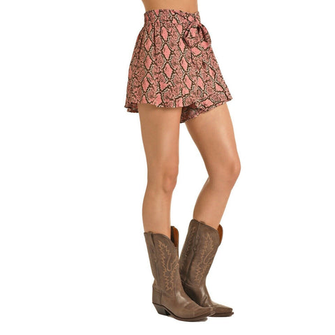 Rock & Roll Cowgirl Snake Print Shorts 68-5138