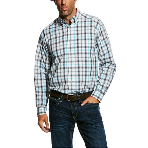Ariat® Men's Mickler White Plaid Long-Sleeve Button Shirt 10026562