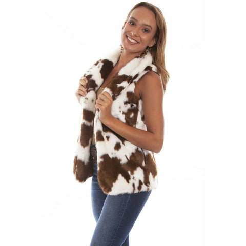 Scully Ladies Cozy & Chic Brown & Cream Faux Fur Vest 8057-RBC
