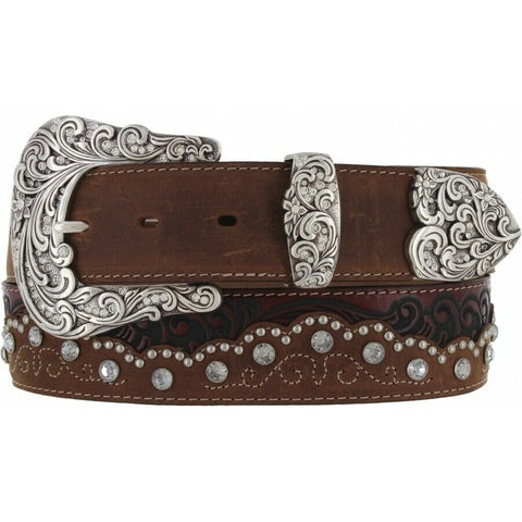 Tony Lama Ladies Brown Kaitlyn Crystal Belt C50499