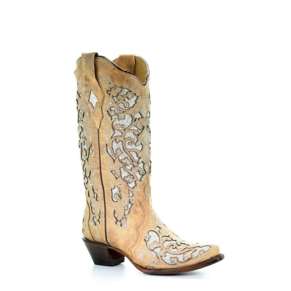 Corral Ladies Beige Inlay, Flowered Embroidery & Studs Boots A3670
