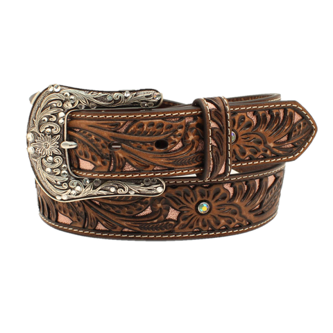 Ariat Ladies Floral Embossed Sanded Brown Leather Belt A1513430