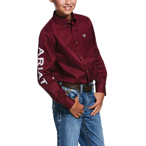 Ariat® Boy's Team Logo Burgundy Long Sleeve Button-Up Shirt 10030163