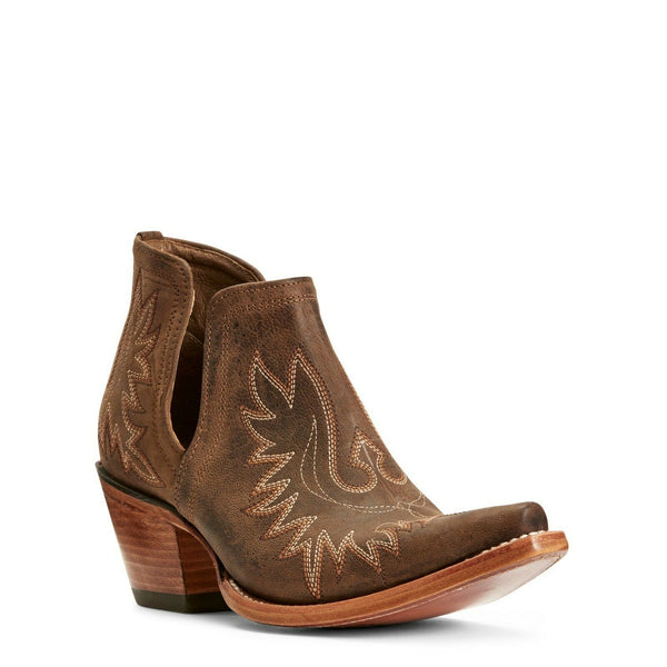 Ariat® Ladies Dixon Weathered Brown Western Ankle Boots 10027282