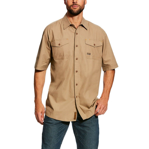 Ariat® Men's Rebar Made Tough Khaki Short Sleeve Work Shirt 10025391