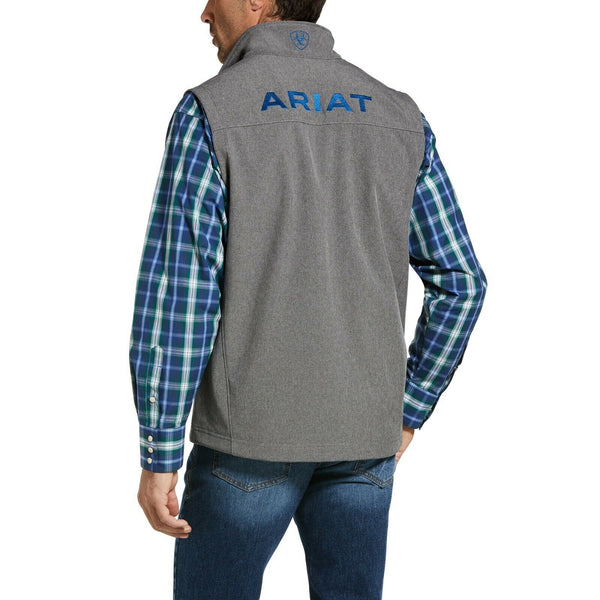 Ariat® Men's Logo 2.0 Charcoal Grey & Blue Softshell Vest 10032941