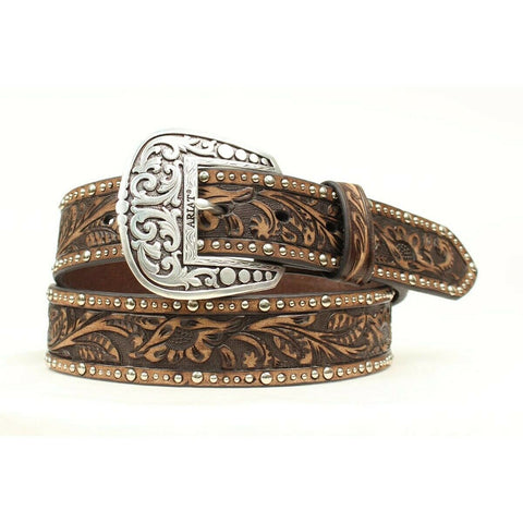 Ariat Ladies Floral Tooled & Studded Leather Belt A1513802
