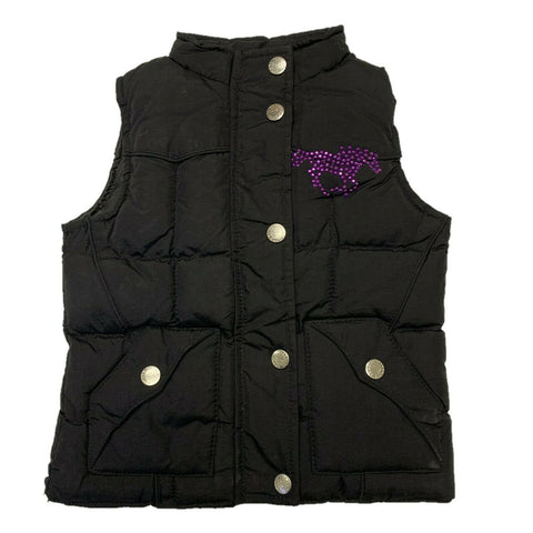 Cowgirl Hardware Girl's Purple Horse Black Poly-Fill Vest 886075-010
