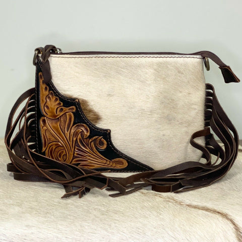 American Darling Cowhide & Brown Embossed Fringe Purse ADBGZ193BRW